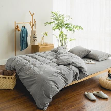 色织生活 简约宜家水洗棉四件套床单款浅灰素色