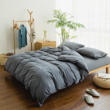 色织生活 简约宜家水洗棉四件套床单款深灰素色