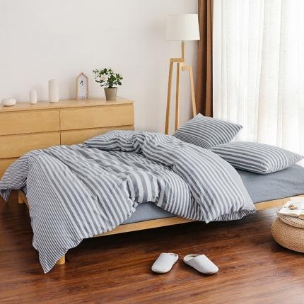 色织生活 简约宜家水洗棉四件套床单款灰色条纹