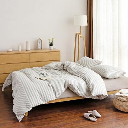 色织生活 简约宜家水洗棉四件套床单款卡其条纹