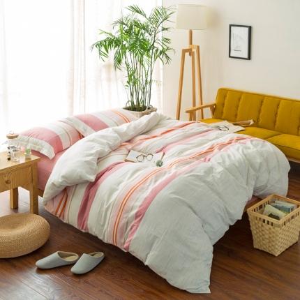色织生活 全棉色织缎彩四件套 缎彩粉色