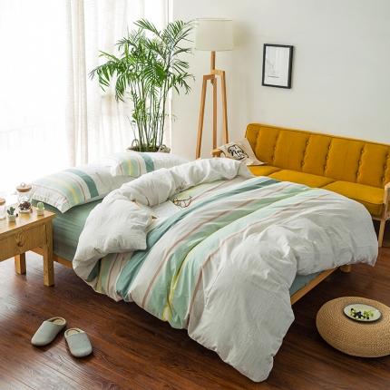 色织生活 全棉色织缎彩四件套 缎彩绿色
