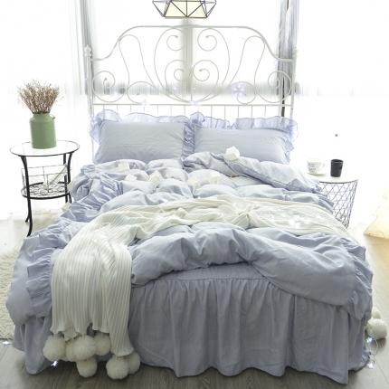 798家纺 色织床裙工艺款尔蓝