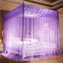 【22mm支架】三开门落地方顶宫廷蚊帐 梦之美紫色