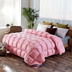富旺家纺 面包格羽绒被 粉色