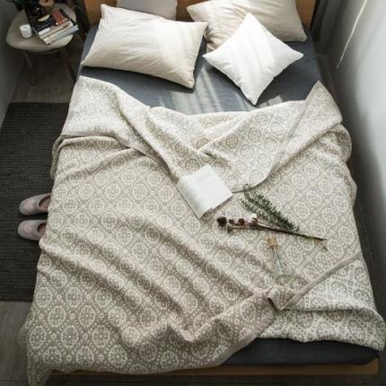 纯品家纺 全棉水洗色织提花多层纱盖毯花色3
