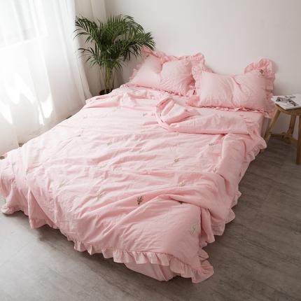 纯品 coco小香风仙人掌水洗棉夏被式被套(含芯)套件粉红色