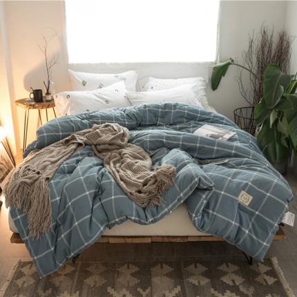 纯品家纺 水洗棉新款经典系列冬被暖蓝大格