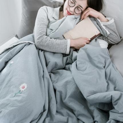 (总)纯品家居 水洗棉毛巾绣小雏菊夏被