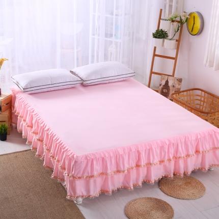 麦蕾迪家居 磨毛纯色床裙粉色