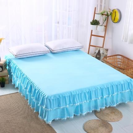 麦蕾迪家居 磨毛纯色床裙蓝色