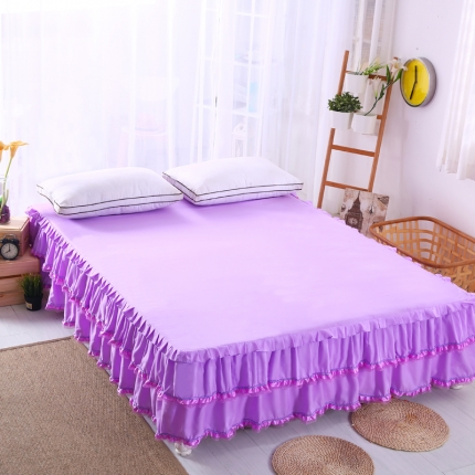 麦蕾迪家居 磨毛纯色床裙紫色