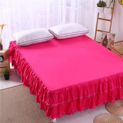 麦蕾迪家居 磨毛纯色床裙 玫红