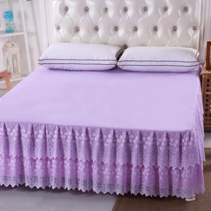 麦蕾迪 韩版蕾丝公主床裙-雪花飞舞 紫色