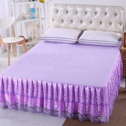 麦蕾迪 韩版蕾丝公主床裙-双笙夏花 紫色