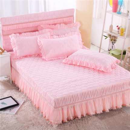 麦蕾迪 炫彩磨毛纯色夹棉床裙粉色