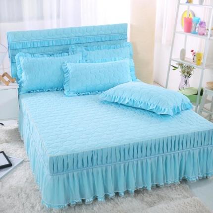 麦蕾迪 炫彩磨毛纯色夹棉床裙水蓝