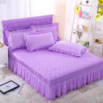 麦蕾迪 炫彩磨毛纯色夹棉床裙紫色