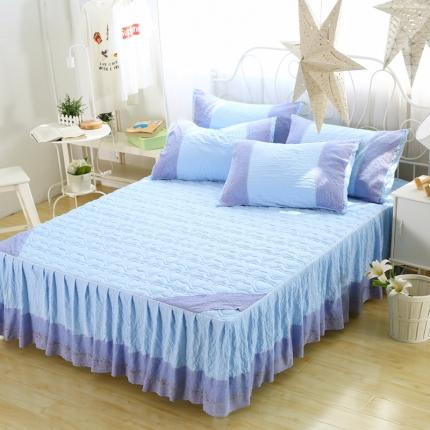麦蕾迪 水洗棉芳心床裙蓝色