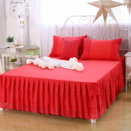 麦蕾迪家居 珊瑚花海单床裙 西瓜红