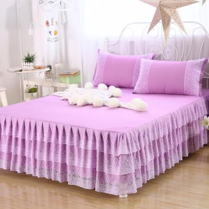 麦蕾迪家居 珊瑚花海单床裙 炫紫色