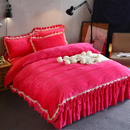 麦蕾迪家纺水晶绒三层荷叶边四件套 玫红色
