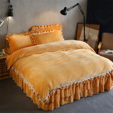 麦蕾迪家纺水晶绒三层荷叶边四件套 金驼色