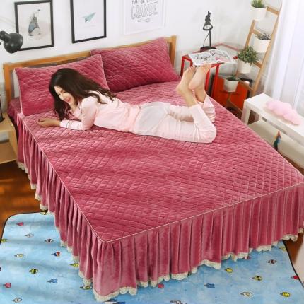 麦蕾迪家纺水晶绒贝壳单品床裙 豆沙