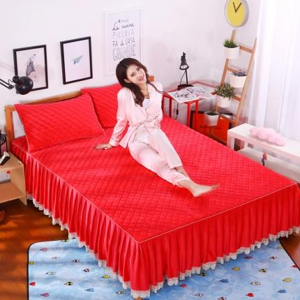 麦蕾迪家纺水晶绒贝壳单品床裙 红玉色