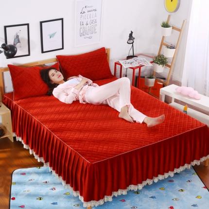 麦蕾迪家纺水晶绒贝壳单品床裙 铁锈红