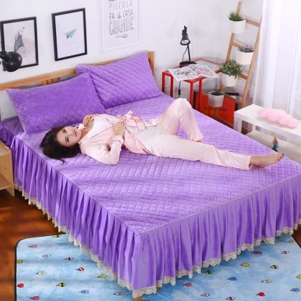 麦蕾迪家纺水晶绒贝壳单品床裙 炫紫色