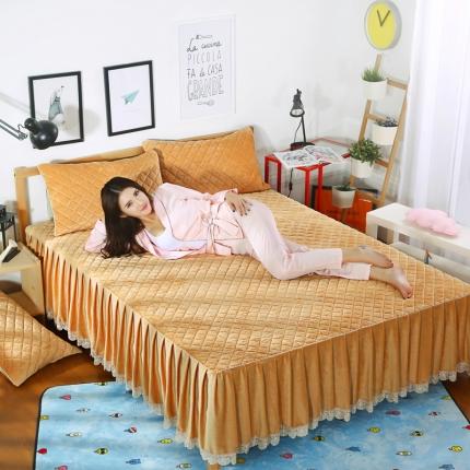 麦蕾迪家纺水晶绒贝壳单品床裙 金驼色