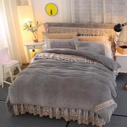 麦蕾迪家纺法莱绒夹棉床裙套件多规格尺寸 灰色
