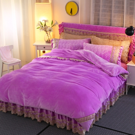 麦蕾迪家纺法莱绒夹棉床裙套件多规格尺寸 紫色