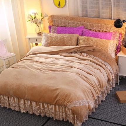 麦蕾迪家纺法莱绒夹棉床裙套件多规格尺寸 驼色