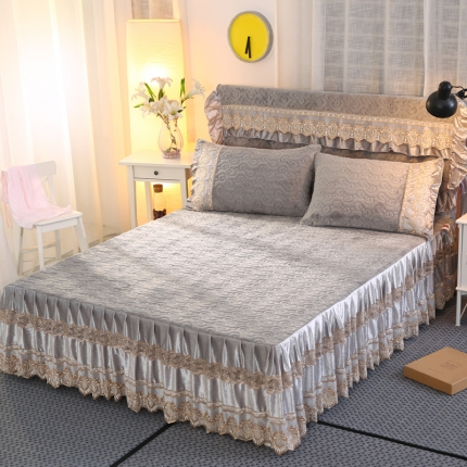 麦蕾迪家纺法莱绒夹棉单品床裙 灰色