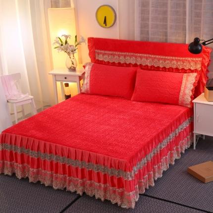 麦蕾迪家纺法莱绒夹棉单品床裙 砖红