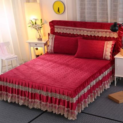 麦蕾迪家纺法莱绒夹棉单品床裙 酒红色