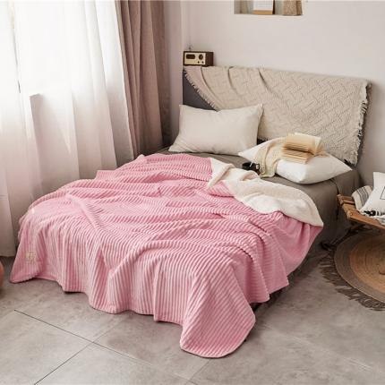 加厚纯色条纹羊羔绒毛毯珊瑚绒毯被子单人双人法兰绒床单盖毯粉条