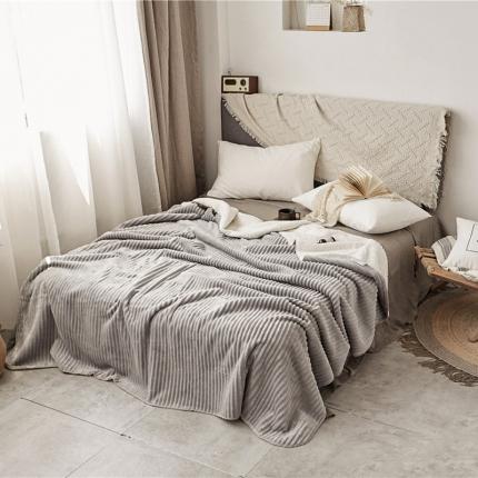 加厚纯色条纹羊羔绒毛毯珊瑚绒毯被子单人双人法兰绒床单盖毯灰条