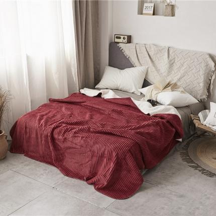 加厚纯色条纹羊羔绒毛毯珊瑚绒毯被子单人双人法兰绒床单盖毯酒红