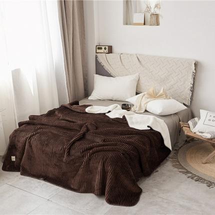 加厚纯色条纹羊羔绒毛毯珊瑚绒毯被子单人双人法兰绒床单盖毯咖条