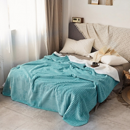 加厚纯色条纹羊羔绒毛毯珊瑚绒毯被子单人双人法兰绒床单盖毯蓝条