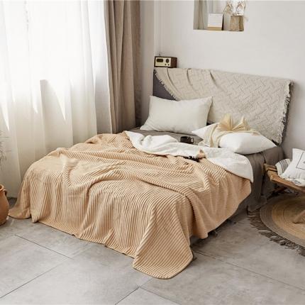 加厚纯色条纹羊羔绒毛毯珊瑚绒毯被子单人双人法兰绒床单盖毯米条