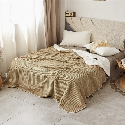 加厚纯色条纹羊羔绒毛毯珊瑚绒毯被子单人双人法兰绒床单盖毯驼色