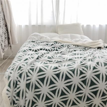 卜古家纺 2018新款北欧舒棉绒提花羊羔绒毯 绿色