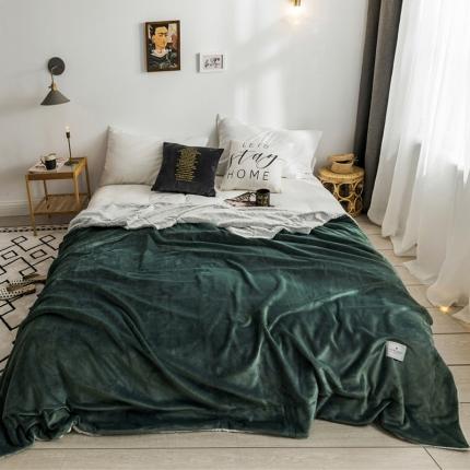 北欧雪兔绒毛毯被子绒毯子加厚双层法兰绒毯沙发盖毯马丁尼绿
