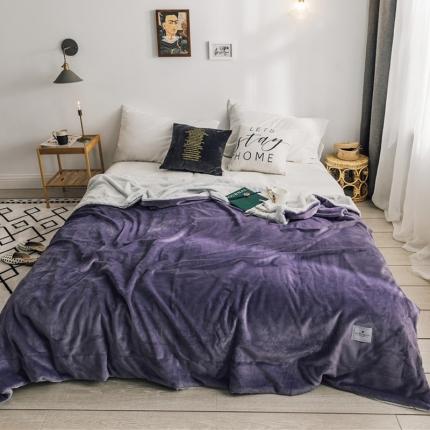 北欧雪兔绒毛毯被子绒毯子加厚双层法兰绒毯沙发盖毯菲芘紫