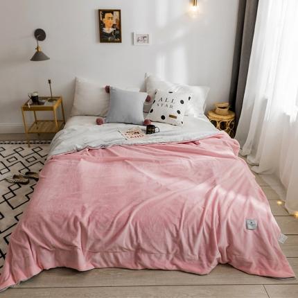 北欧雪兔绒毛毯被子绒毯子加厚双层法兰绒毯沙发盖毯艾比粉