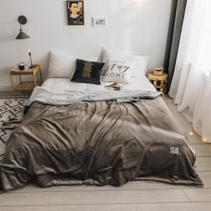 北欧雪兔绒毛毯被子绒毯子加厚双层法兰绒毯沙发盖毯安德烈咖